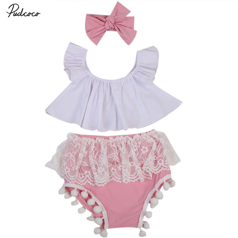 3PCS Cute Newborn Baby Girl Clothing Set 2018 Summer Ruffles White Crop Tops Shirt+Lace Tassel Bloomers Short Headband Outfits
