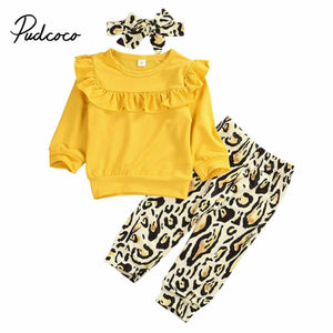 3PCS Newborn Baby Girl Clothes Outfit Long Sleeve Solid Knitting T-shirt Top Leopard Long Pants Trousers Headband 3 Piece Set - Buy Babby