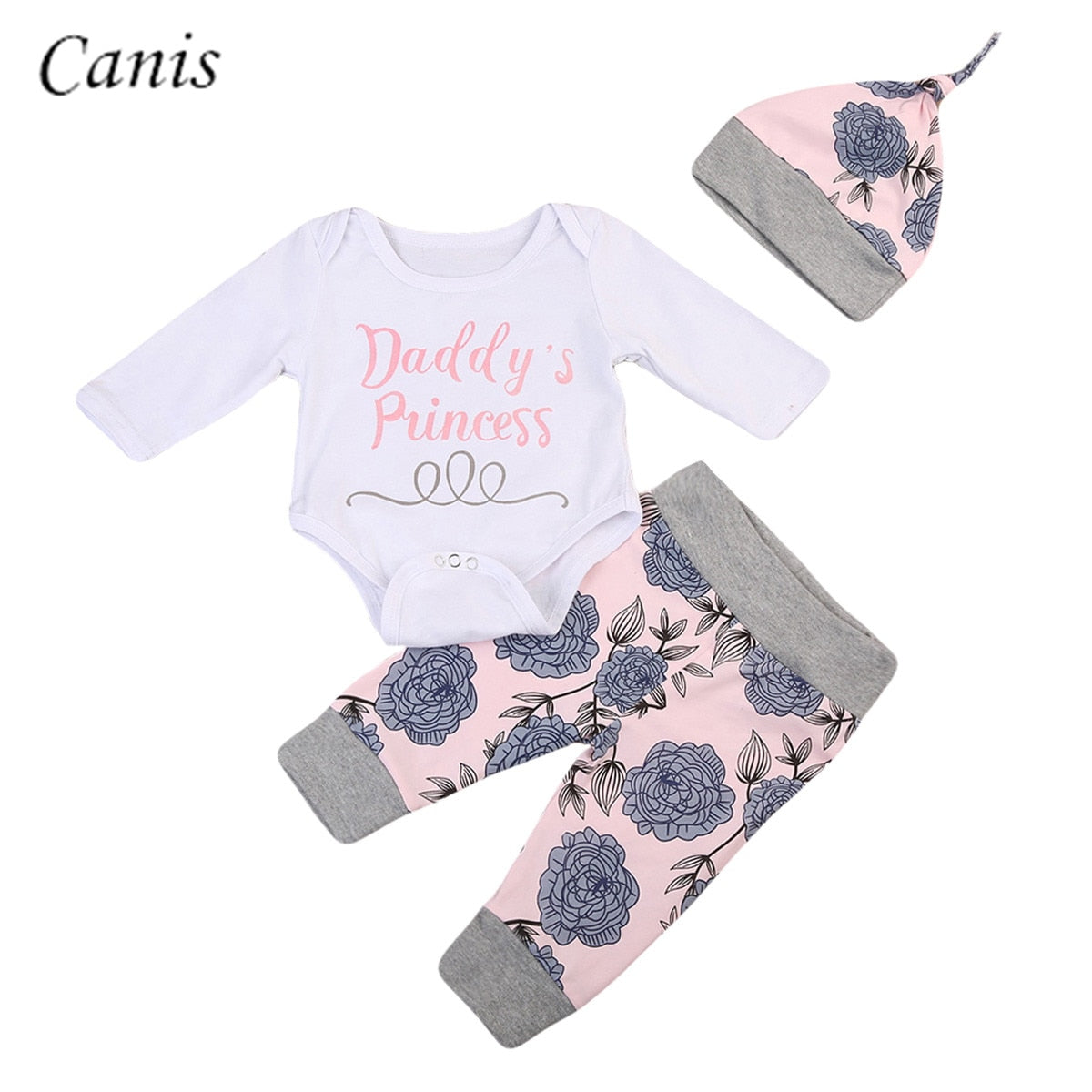 3PCS Newborn Infant Baby Boy Girl Outfits Clothes Set White Tops Romper Long Sleeve + Floral Pants Leggings+ Hat - Buy Babby