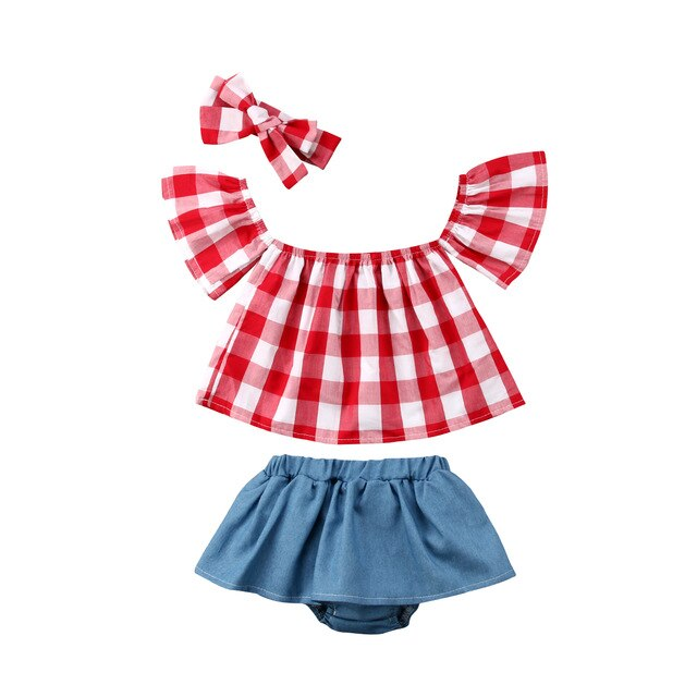 3PCS Toddler Kids Baby Girls Clothing Summer T-shirt Tops Short Sleeve Short Headbands Outfits Clothes Set Girl 0-3T