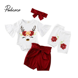 4 Pieces Newborn Baby Girl Clothing Set 2020 Spring Floral printed Bodysuits +Shorts+Headband+Socks Baby Girl Clothes Outfit - Buy Babby