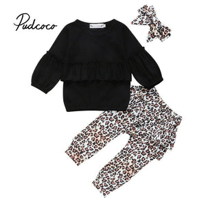 6M-3Y Toddler Kid Baby Girl Winter Clothes Sets Black Long Sleeve Tops + Long Pants + Leopard Headwear 3Pcs Outfit Tracksuit - Buy Babby
