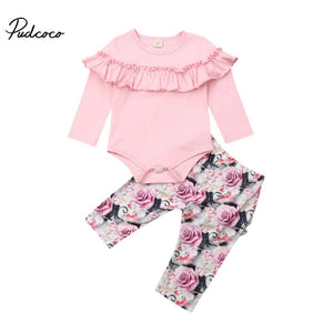 Autumn Winter New Baby Girl Sets Clothes Outfit Solid Long Short Romper Bodysuit Rose Flower Pants Top roupa infantil