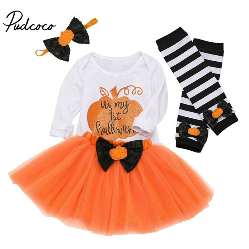 Baby Clothes Pumpkin Print children's clothing Outfits Baby Girls Long Sleeves Bodysuit + Tutu Skirt + Headband Halloween - Buy Babby