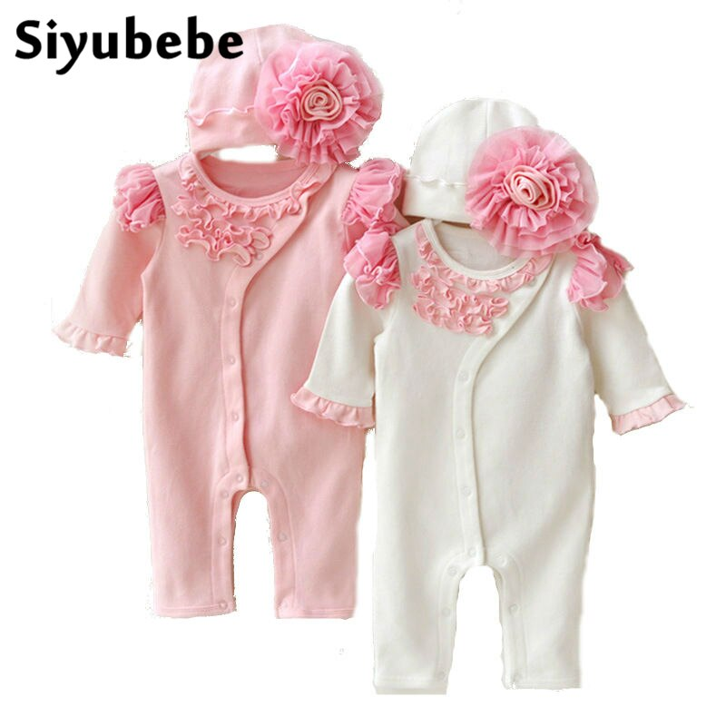Princess Style Formal Dress Infant Lace Floral Rompers With Hat - Buy Babby
