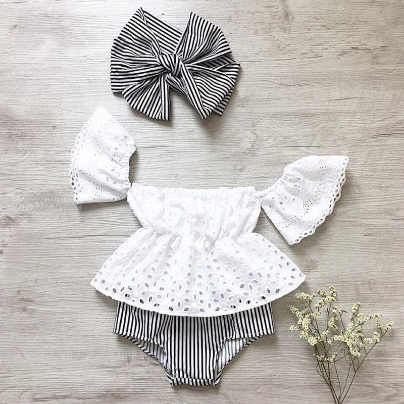 Baby Girl Off Shoulder Lace Tops Stripe Shorts Briefs 3pcs Outfit Clothes Summer - Buy Babby