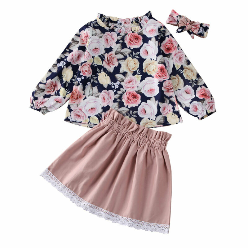 Baby Girl Suit Clothes Newborn Infant Sets Baby Girls Clothes 3Pcs Pink Skirts Summer Spring Toddler Set Floral Children Outfits - Buy Babby