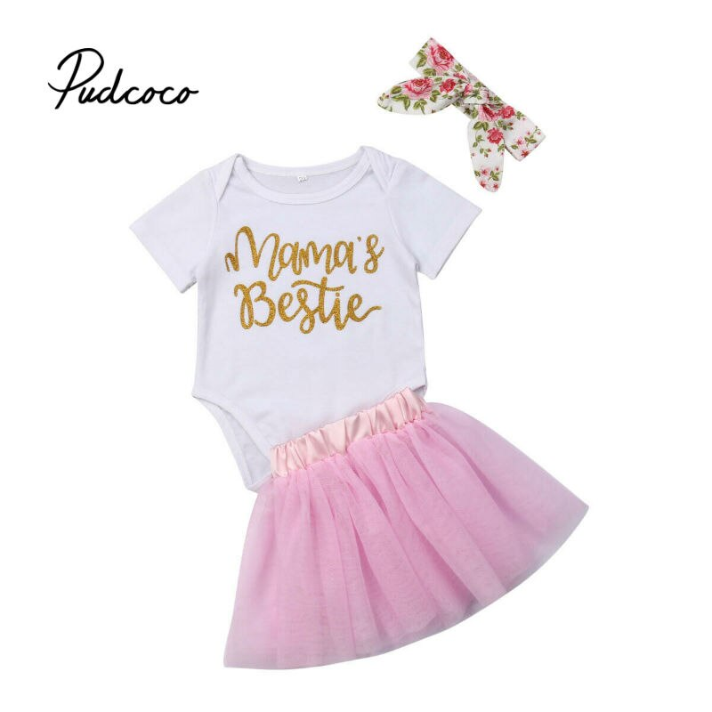Baby Girl Summer Clothing Sets Baby Girls Clothes Lace Mesh Romper Top +Tutu Skirts+Headband 3pcs Outfits Sets 0-18 Months