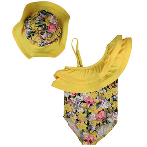 Baby Girl Swimsuit Bikini One Piece 2018 Summer Yellow Floral Printed Swimwear Jumper Jumpsuit+Hat 2Pcs Outfit Children Swimsuit - Buy Babby