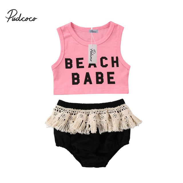 Baby Girls Crop Top Vest Sleeveless Tassels Shorts Cotton 2pcs Clothes Summer Cute Newborn Kids Baby Girl Clothing Set 6M-3T