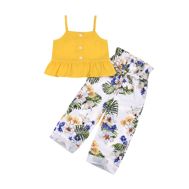 Baby Kid Girl Tank-Tops Long-Pants-Set Floral-Print Girls Summer Kid Soliod Sleeveless Bowknot Cotton Ruffled Tops Summer 2-7T - Buy Babby