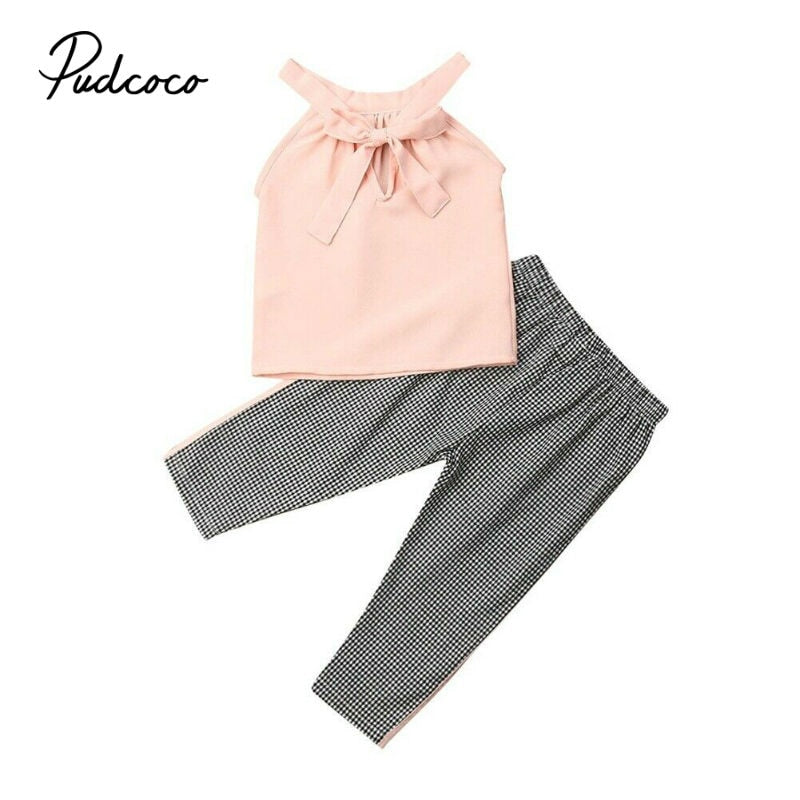 Baby Summer Girls Clothing Sets Baby Girls Bow Decor Sleeveless Tops + Pants Suit Clothes Kids Tracksuit Sport Suit 2Pcs - Buy Babby