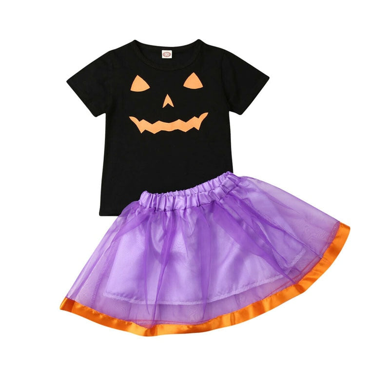 Brand 1-5Y Kids Baby Girls Clothes Cute Pumpkin Short Sleeve T shirt Tutu Skirt Costume Toddler Halloween Fancy Outfit 2pcs Set - Buy Babby