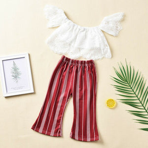 Brand New Toddler Girls Princess Outfits Off Shoulder Solid Tank Tops High Waist Striped Pants Set Summer Clothes - Buy Babby