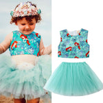 Brand Quality 2PCS Outfit Set Toddler Kids Baby Girl Dresses Clothing Party Cute Sleeveless Mermaid Vest Ball Gown Tulle Dress