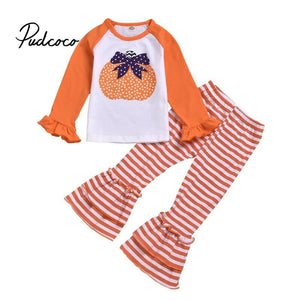 Children Baby Girls clothes set Pumpkin Autumn Tops Flare Wide Leg Pants Halloween Costume baby Outfits kids Casual clothing - Buy Babby