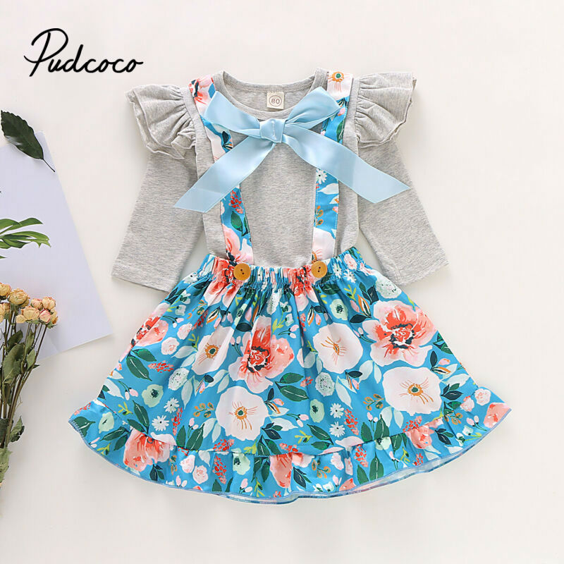 Children Cloth Set Toddler Baby Girls Long Sleeve Solid T-Shirt Tops+Floral Overalls Skirts Outfits Girl 2019 Autumn Outfits Set - Buy Babby