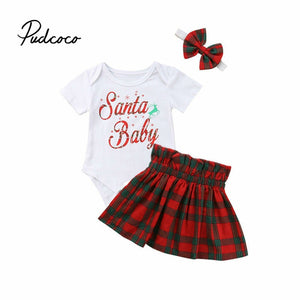 Christmas Costume For Baby Girls Cartoon Cotton Baby Three Piece Suit Bodysuit + Skirts + Headband Outfit Clothes Body Suit Xmas - Buy Babby