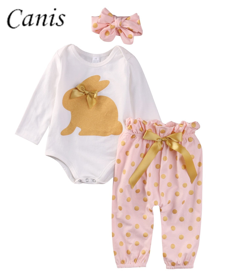 Cute Newborn Infant Baby Girls Clothes GOLD RABBIT Long Sleeve Romper Tops Playsuit Sunsuit Pants Outfit Set 2pcs 0-18M - Buy Babby