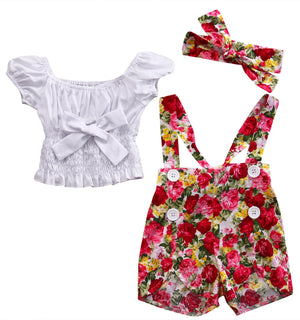 Cute Print Summer Kids Baby Girl Short Sleeve Off Shoulder Cotton Tops T shirt+Floral Short Pants Outfits Set - Buy Babby