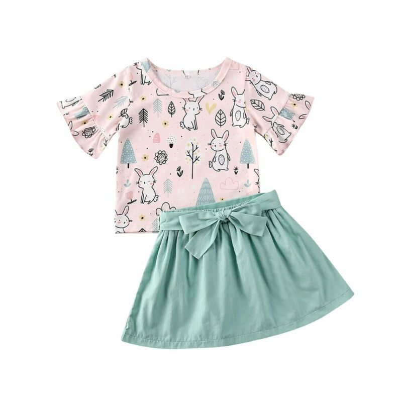 Easter 2020 Kids Cotton Rabbit 2Pcs 1-5Y Toddler Baby Girl Clothes Sets Cartoon T-shirt Tops Bow Skirt Summer Cool Outfits - Buy Babby
