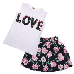 Emmababy Flower Girs Clothing Age 2-7Y baby girls clothes set 2pcs/set love sleeveless T-shirts+print mini skirts Outfits Set - Buy Babby