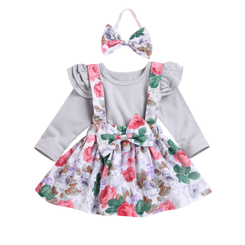 Fashion Cute Infant Newborn Baby Girls Clothes Bodysuit + Overalls Suit Skirt + Headband 3pcs Outfit Cotton Baby Tracksuit Set - Buy Babby