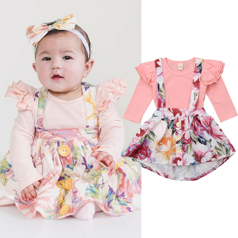 Fashion Cute Infant Newborn Baby Girls Clothes Fly Sleeve Bodysuit + Overalls Suit Skirt 2pcs Outfit Cotton Baby Tracksuit Set - Buy Babby