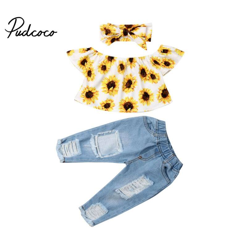Fashion Toddler Newborn Kids Baby Girl Sunflower Off Shoulder Crop Tops Denim Pants Jeans Headband 3Pcs Outfits Cute Clothes