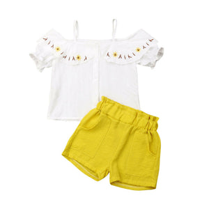 Gilr Clothes Set Summer Off Shoulder Blouse Striped Short Pants 2 Pcs Clothing Suit For Baby Kids Cute Sets 2019 New Style - Buy Babby