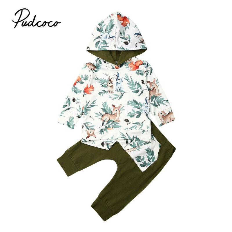 Girls Clothes 2020 Spring Kids Clothes Flroal Pattern Long Sleeve Hooded Tops+Leggings Pants Outfit Children Girls Tracksuits - Buy Babby