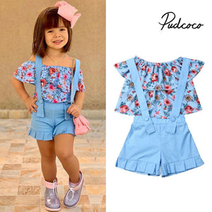 Girls Clothes Suits 2019 New Summer Style Children Floral Tops + Overalls Suit Clothes Sets For 1-6T Kids Ruffles Sleeve Sets