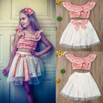 Girls Clothing Sets Summer Cute Princess Girl Crop Tops T-shirt + Mesh Skirt 2PCS Girls Dress Set Children Clothing - Buy Babby