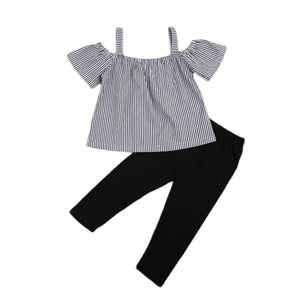 High Quality Baby Girls Clothes Casual Off Shoulder Tops T-Shirt Striped Print Long Pants 2PCs Outfits Kid Clothing Set