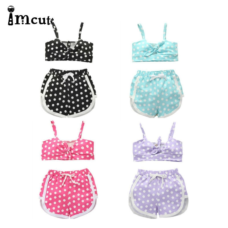 2Pcs Toddler Girls Shorts Set Polka Dots Front Knot Halter Tube Crop Top + Shorts Pants Summer Outfits Set 4 Colors - Buy Babby