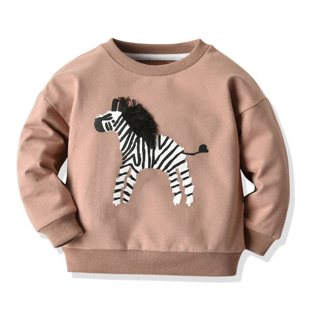 Imcute 2020 Autumn Girls Sweatshirt Long Sleeve Kids Applique Zebra Cartoon Tops Children Pullover Boys Hoodies Winter Clothing - Buy Babby