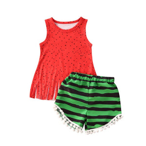 Imcute 2020 Baby Hot Summer Clothing Baby Girl Ruffled Ribbed Sassy Tank Watermelon Striped Tassel Shorts 2Pcs Infant Outfits - Buy Babby