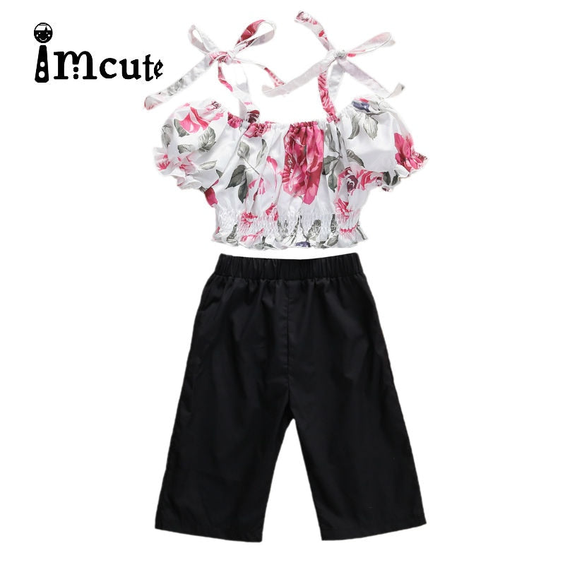 Imcute 2020 Kid Baby Girl Cropped Ruffles Crop Tops Shrink Waits Shirt Pants 2pcs Outfit Clothes Children Summer Sets - Buy Babby