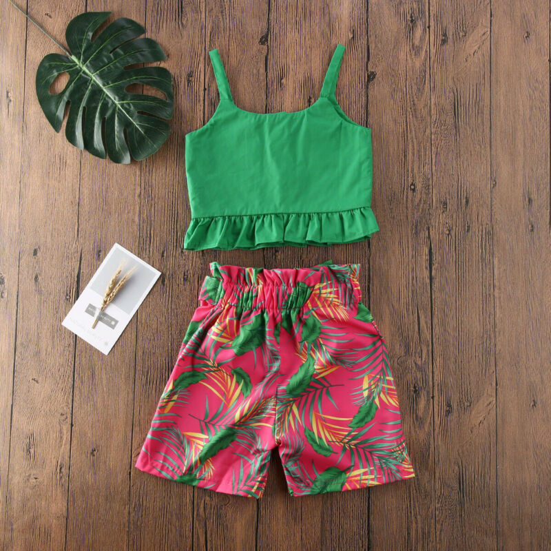 Imcute 2020 Summer Kids Baby Girl Cothes Floral Outfits Ruffle Sling Top Bowknot Flowers Skirts girls Set Children clothes 0-6T - Buy Babby