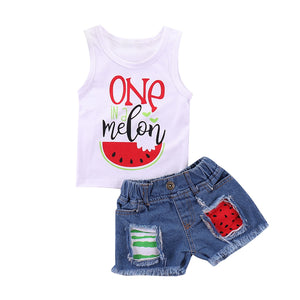 Infant Baby Girl Set Sleeveless T-shirt Top+Denim Shorts Pants Kid Summer 2Pcs Watermelon Clothes
