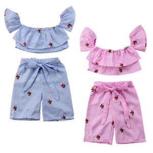Kids Baby Girls Clothing Striped Off Shoulder Crop Tops Pants Floral Casual 2pcs Summer Outfits Set Clothes Girl 6M-5T - Buy Babby