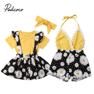 Kids Baby Girls clothes Two Style Sunflower Bodysuit Tops Flower print Overalls 3pcs cotton casual Toddler newborn Outfits