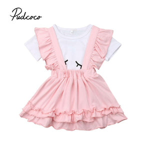 Kids Girls Clothing Sets Summer New Style Brand Baby Girls Clothes Short Sleeve T-shirt+Overalls Dress 2Pcs Children Suits - Buy Babby
