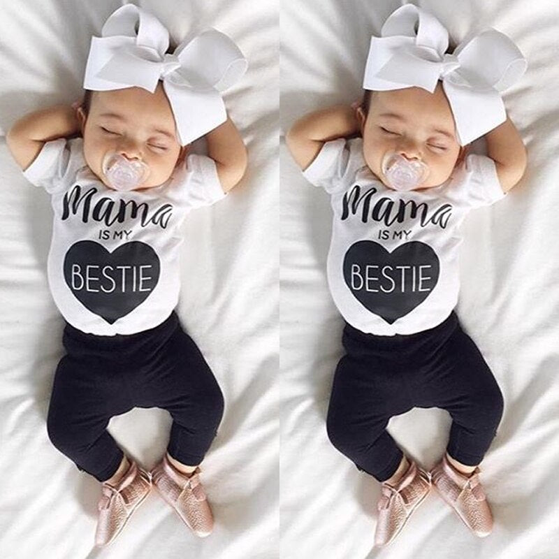 Mama is My bestie Newest 0-24M Newborn Baby Boys Girls Cotton Clothes - Buy Babby