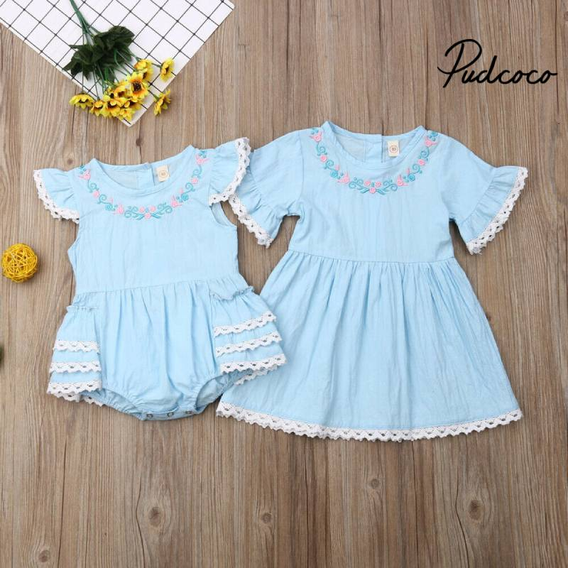 Little Big Sisters Matching Outfits Toddler Kids Girl Newborn Baby Floral Lace Fly Sleeve Rompers Dress Sundress Clothes