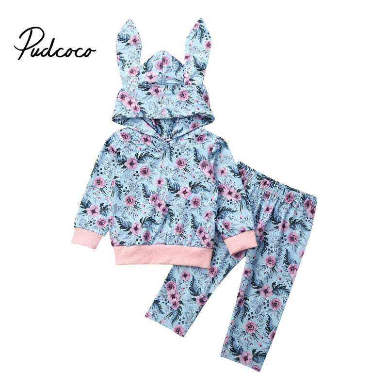 Lovely 2020 Spring Newborn Baby Boys Girls Clothes Ear Hooded Sweatshirts+Flower Pants Leggings Baby Girls Tracksuit Suit Outfit - Buy Babby