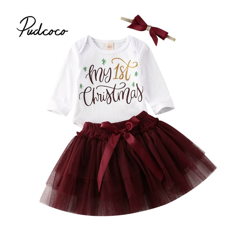 MY 1st Christmas Baby Girl Clothes Autumn Outfit Set Bodysuit Colorful Tutu Skirts Princess Kids Girls Party Dress Headband 3PCS - Buy Babby