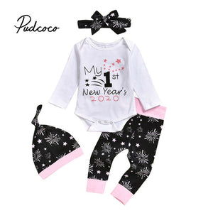 My First New Year 2020 Baby clothes Newborn Infant Baby Girls Boys Happy New Years Bodysuits+Pants+Hairbands+Hat Toddler 4Pcs - Buy Babby