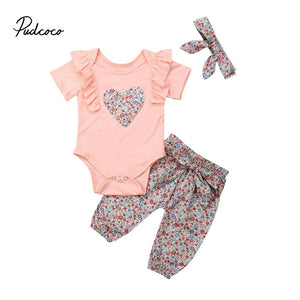 New 2019 T-shirt + pant+headband baby child suit 3 pieces fashion girls clothing sets children's clothes bowknot 0-18M