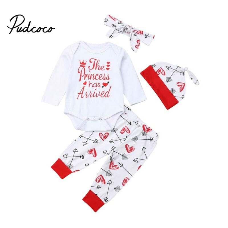 New Fashion Baby Kids Girls cotton 4Pcs Cute Princess Cotton Bowknot High-quality Long Sleeve Bodysuit + Pant + Hat + Headwear - Buy Babby